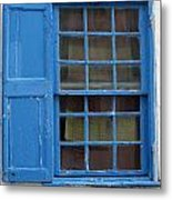 window in blue - British style window in a mediterranean blue Metal Print