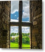 Window In Linlithgow Palace With View To A Beautiful Scottish Landscape Metal Print