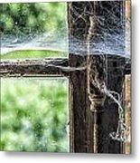 Window Lock And Spider's Web Metal Print