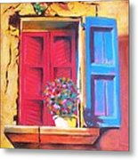 Window On The Rue In Roussillon France Metal Print