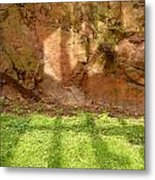 Window Reflections On Grass And Rock Face Metal Print