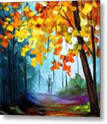 Window To The Fall - Palette Knife Oil Painting On Canvas By Leonid Afremov Metal Print