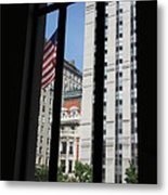 Window View With Flag Metal Print