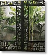 Window With Bamboo And Banana Plant Metal Print