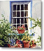 Window With Blue Trim Metal Print