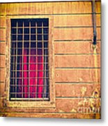 Window With Grate And Red Curtain Metal Print by Silvia Ganora