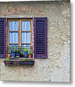 Window With Potted Plants Of Rural Tuscany Metal Print