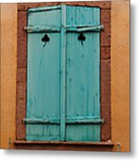 Window With Turqouise Shutters In Colmar France Metal Print