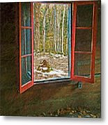 Window With View Abandoned Elkmont Log Cabin Autumn Metal Print