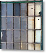 Windows In Blue Building Vertical Metal Print