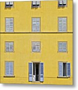 Windows Of Florence Against A Faded Yellow Plaster Wall Metal Print