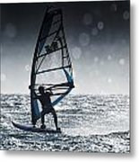 Windsurfing With Water Drops On Camera Metal Print