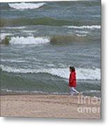 Windy Beach Walk Metal Print