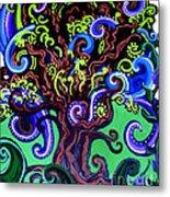 Windy Blue Green Tree Metal Print