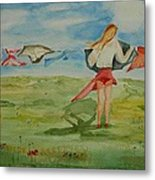 Windy Day Funny Watercolor Metal Print