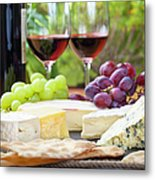 Wine And Cheese Platter Metal Print
