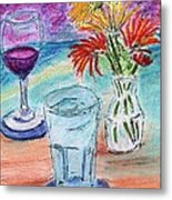 Wine And Flowers 2 Metal Print