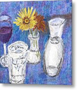Wine And Flowers Metal Print by William Killen
