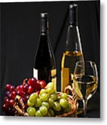 Wine And Grapes Metal Print by Elena Elisseeva
