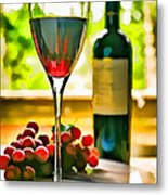 Wine And Grapes In The Window Metal Print
