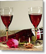 Wine And Rose By Candlelight Metal Print by Inspired Nature Photography Fine Art Photography