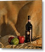 Wine Apples And Cheese Metal Print