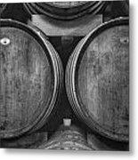 Wine Barrels Monochrome Metal Print