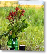 Wine Bottle And Two Glasses Metal Print