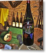Wine Bottle On Display Metal Print