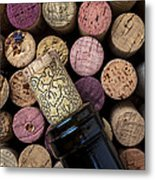 Wine Bottle With Corks Metal Print