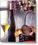 Wine Bottle With Glass In Window Metal Print
