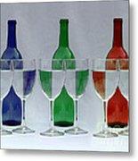 Wine Bottles And Glasses Illusion Metal Print