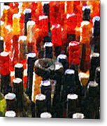 Wine Bottles In Cases Painting Metal Print