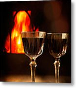 Wine By The Fire Metal Print