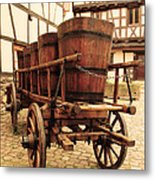 Wine Cart In Alsace France Metal Print