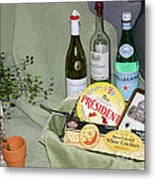 Wine Cheese And Crackers Metal Print