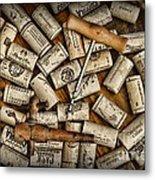 Wine Corks On A Wooden Barrel Metal Print by Paul Ward