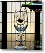 Wine For Three Metal Print by John Debar