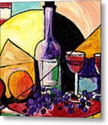 Wine Fruit And Cheese For Two Metal Print