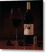 Wine Glass And Bottle Metal Print
