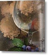 Wine Glass And Flowers Metal Print
