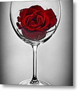 Wine Glass With Rose Metal Print