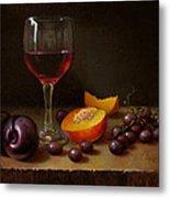 Wine Peach And Plums Metal Print by Timothy Jones