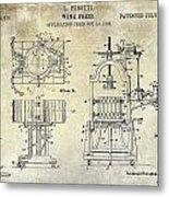 Wine Press Patent 1903 Metal Print