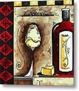 Wine Tasting Original Madart Painting Metal Print