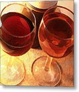 Wine Toast In Watercolor Metal Print by Elaine Plesser