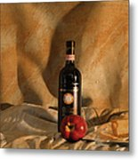 Wine With An Apple And Cheese Metal Print