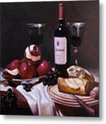 Wine With Peeled Apples Metal Print