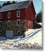 Winery Barn In Winter Metal Print by Desiree Paquette