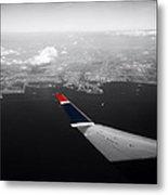 Wing Tip View Over Long Beach Ca Sc Metal Print